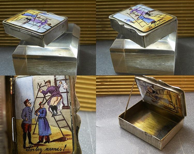 Antique Risque Enamel Erotic on Guard Vesta Case Silver P Match Safe 19th | ...